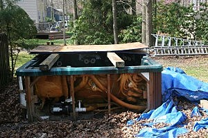 photo of busted up hot tub