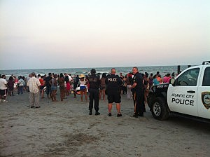 search crews on Atlantic City beach