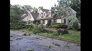 Storm damage in a Linwood neighborhood (YouTube)