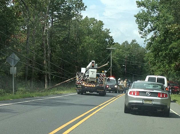 Downed Utility Pole on Ocean Heights Avenue in Egg Harbor Township