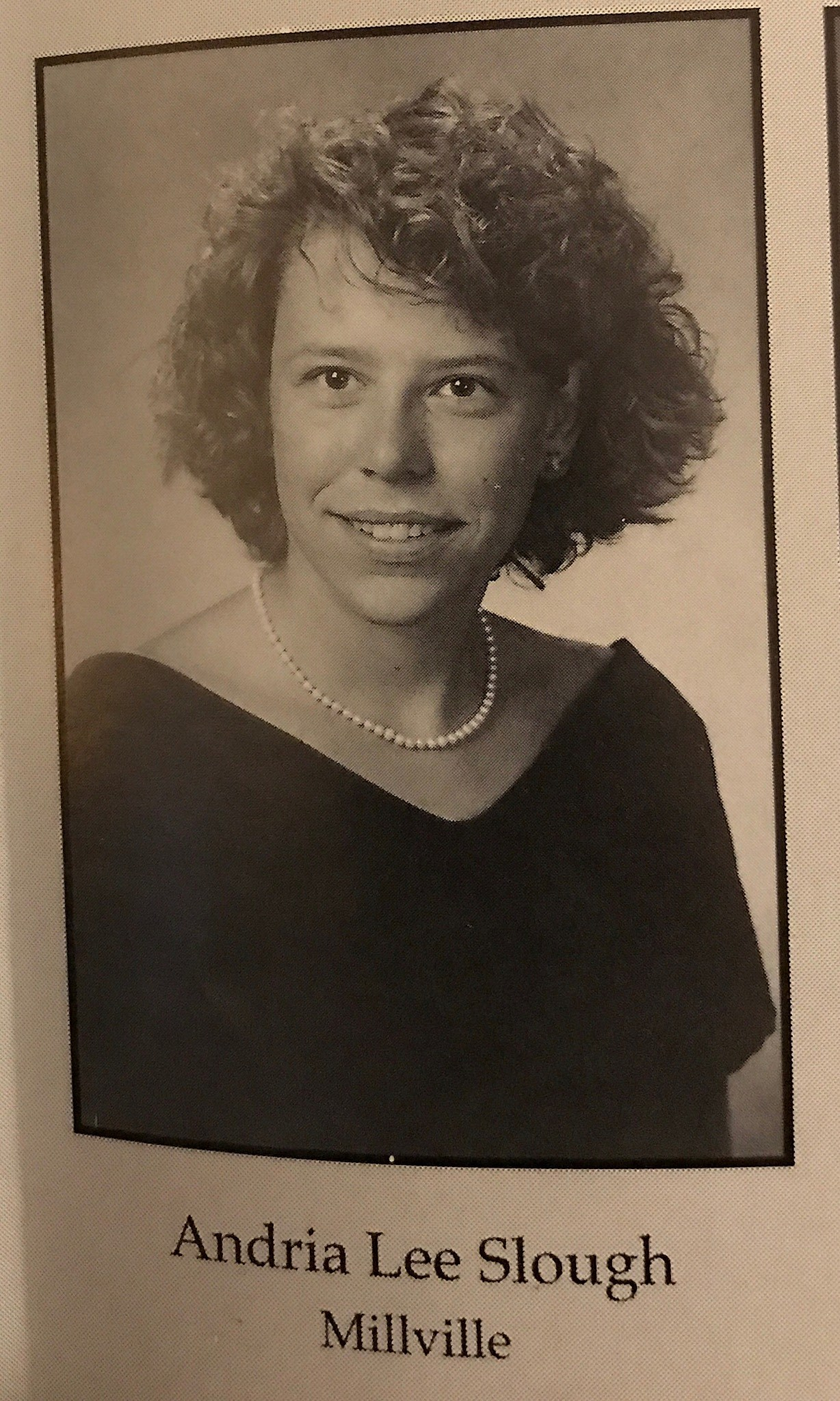 Andria Slough's 1994 Millville Senior High School yearbook photo that I took myself from my husband's yearbook. They graduated together! (Heather DeLuca)